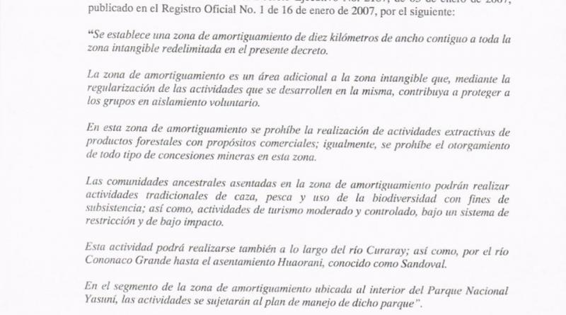 Lenín Moreno cambia los límites de la zona intangible en el #Yasuní