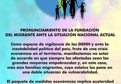 PRONUNCIAMIENTO DE LA FUNDACIÓN DEL MIGRANTE ANTE LA SITUACIÓN NACIONAL octubre de 2019
